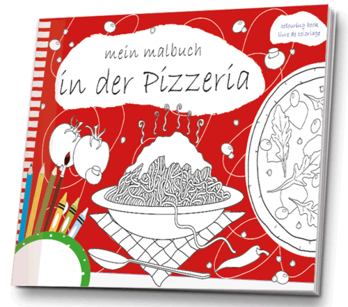 Malbuch in der Pizzeria