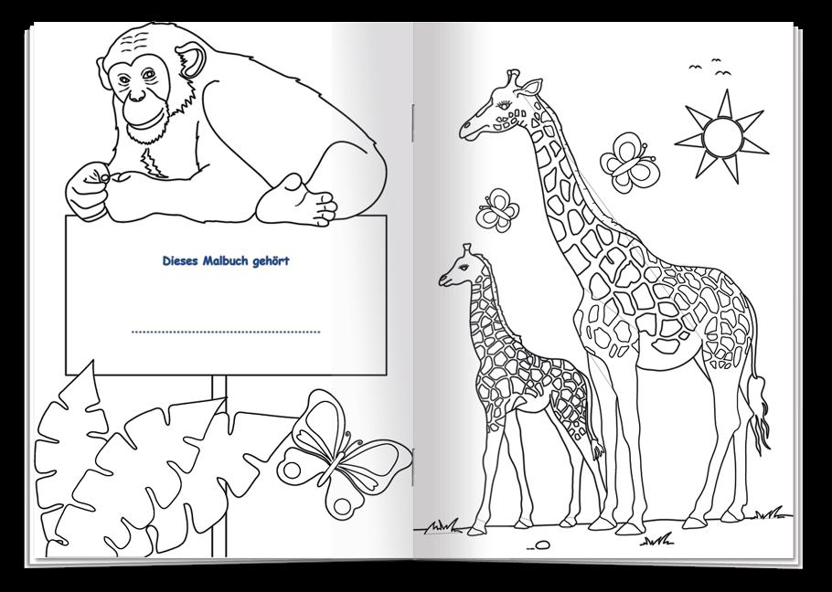Malbuch Tiere - viele Tiere der Welt zum Ausmalen